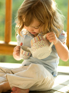 Many parents buy tea sets for little girls