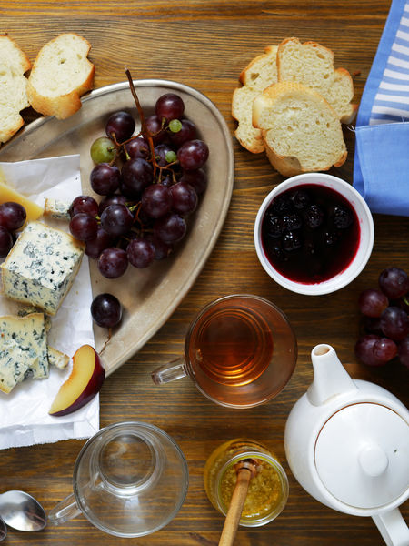Tea perfectly compliments a cheese board