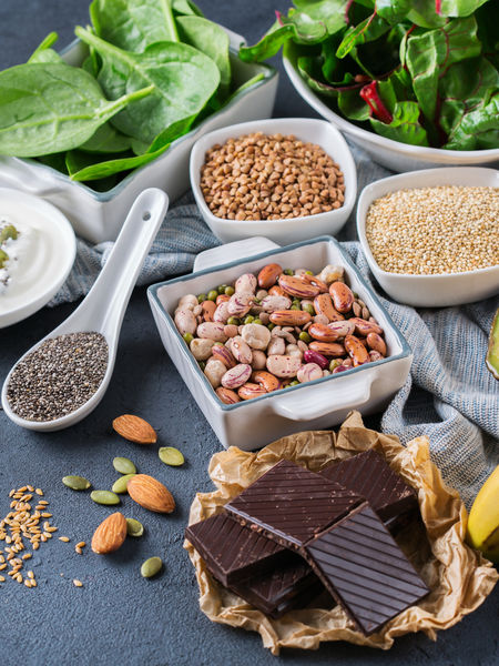 Magnesium is a beautiful mineral that we can get in our diet via dark, leafy greens as well as the rich, earthy family of nuts, seeds, grains, and legumes.